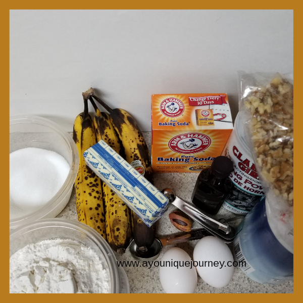 All the ingredients  to make the Banana Bread, except for the 2 tablespoon of milk.