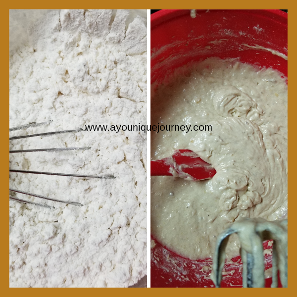 Left picture: flour, salt, nutmeg, baking powder & baking soda whisked together. Right picture: wet ingredients added to the dry ingredients.