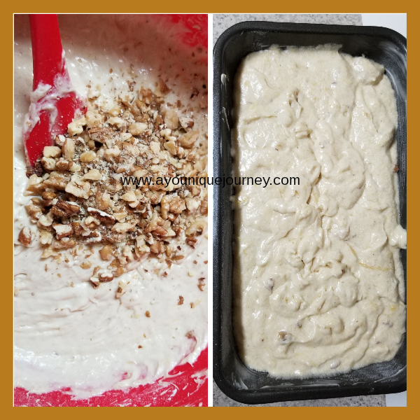 Left picture: the nuts (walnuts & pecans) added to the mixture. Right picture: mixture in loaf pan but I forgot to leave some of the nuts to sprinkle on top. Silly me.