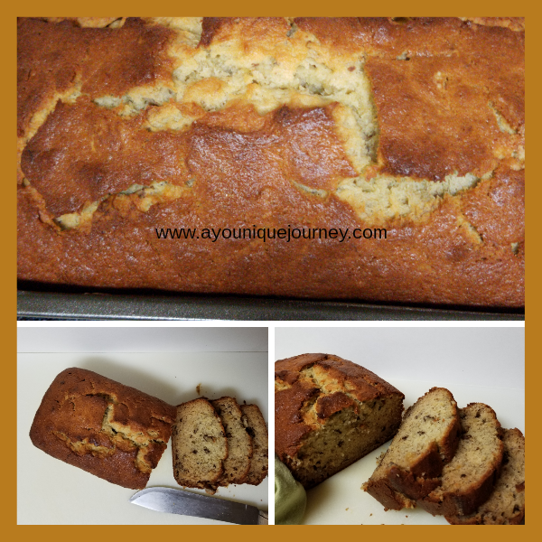 Three different pictures of sliced Banana Bread.
