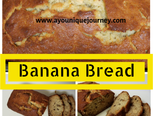 A soft and moist Banana Bread sliced.