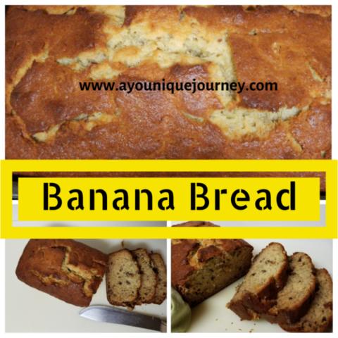 A soft and moist Banana Bread sliced.