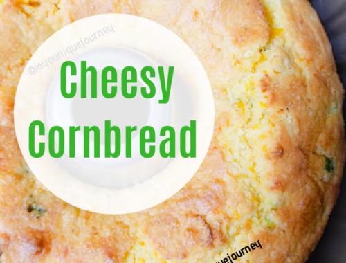 Cheesy Cornbread just finish baking in a Bundt pan.