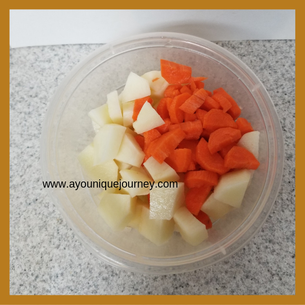 Chopped carrots & potatoes.