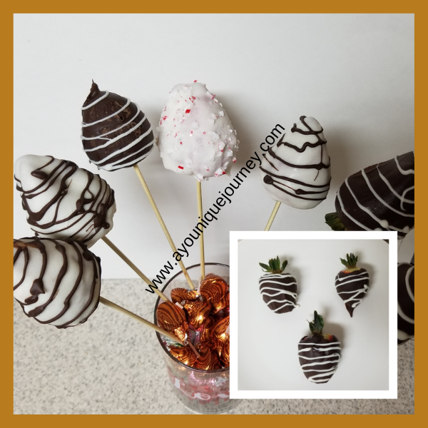 Chocolate Covered Strawberries with two different designs.