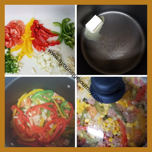 All the seasoning chopped and diced. Butter melting in medium pot. Onions, Bell peppers, Tomatoes and garlic sauteed. All ingredients in the pot with the water almost evaporated.