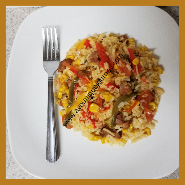 Spicy Reggae Rice served in a plate.