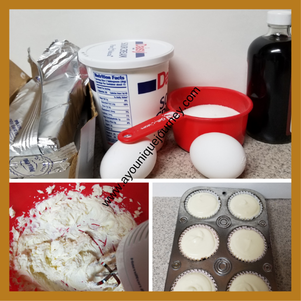 Top picture is all the ingredients to make the batter. Bottom left picture is the cream cheese mixing. Bottom right picture is the cheese cake batter ready to be placed in the oven.