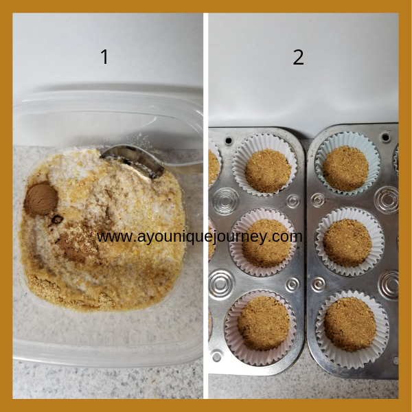 1st picture is Graham Crackers crumbs, cinnamon and melted butter. 2nd picture is the completed crust in cupcake liners.