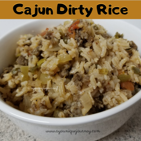 A bowl of cajun dirty rice.