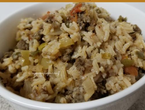 A bowl of cajun dirty rice.