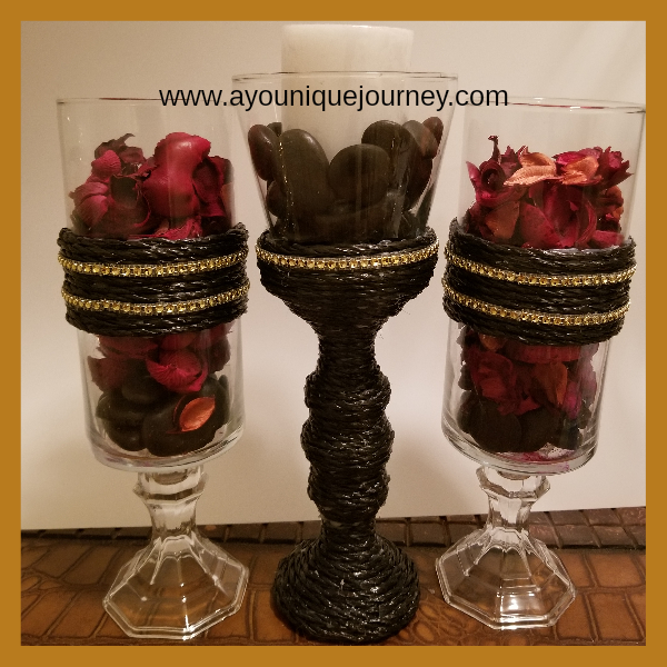 DIY Black Rope with Gold Candle Holders.
