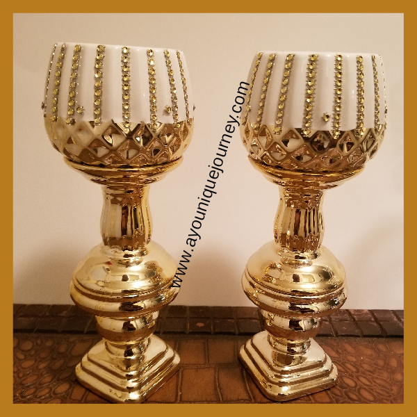 White and Gold DIY Candle Holders.