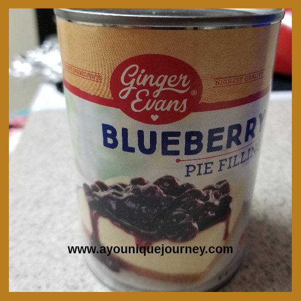 A can of Blueberry Pie filling for the cheesecake.