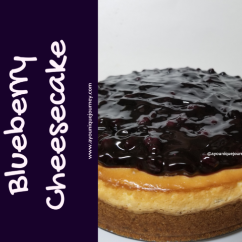 A Blueberry Cheesecake dessert.