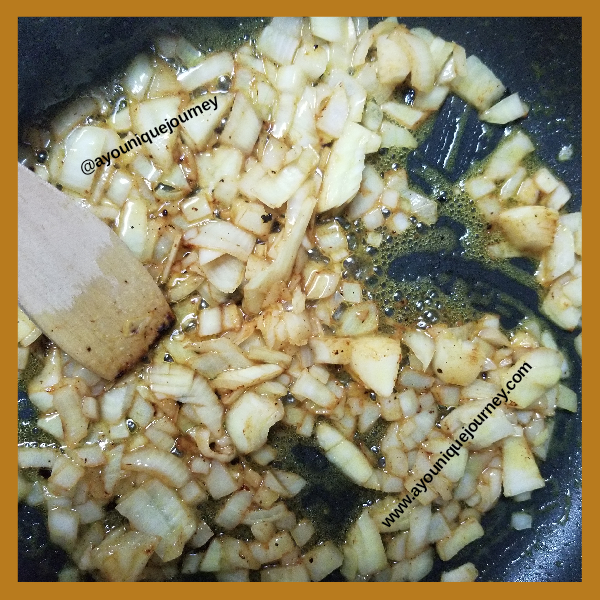 Onion, garlic and ginger saute in butter.