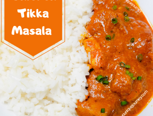 Chicken Tikka Masala with a serving of white rice.