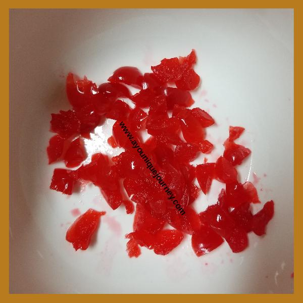 Diced Maraschino Cherries.