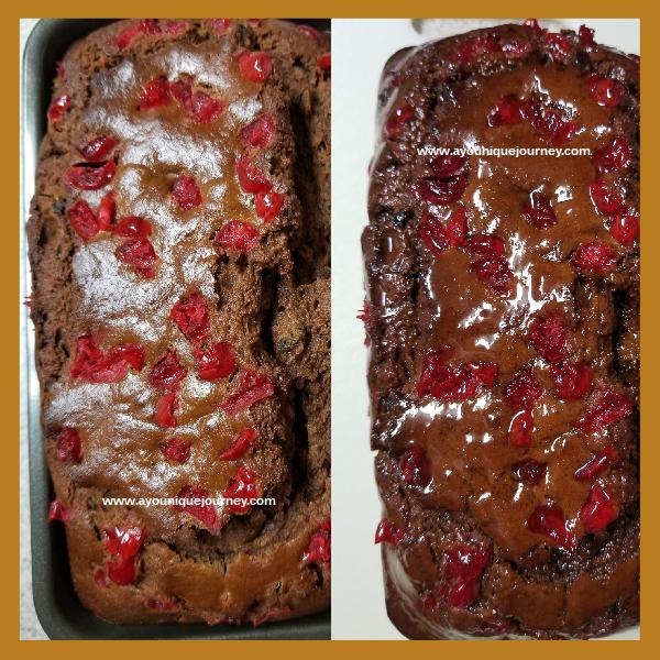 Left Photo: Jamaican Easter Bun after baking. Right Photo: Jamaican Easter Bun with the glaze.