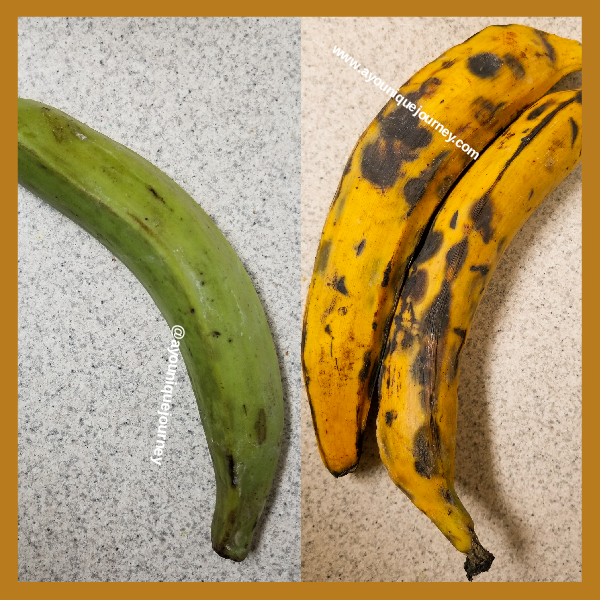 Both green and ripe plantains.