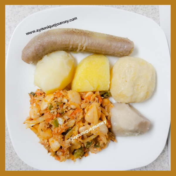 Dinner is served: Butter Beans and Saltfish and boiled food.