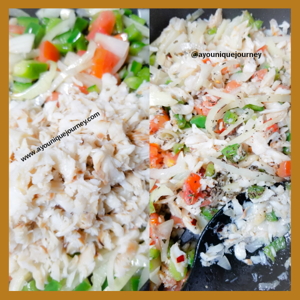 Adding Saltfish to the sauteed vegetables and the additional seasoning.