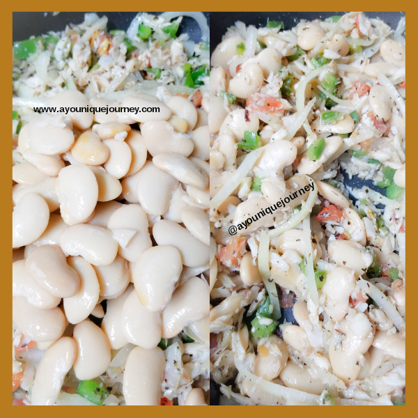 Before and after the Butter Beans are added to the mixture.