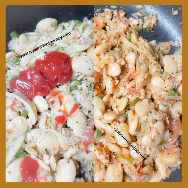 Left Photo: Adding ketchup to the Butter Beans and Saltfish. Right Photo: how it look after adding the ketchup (which is optional).