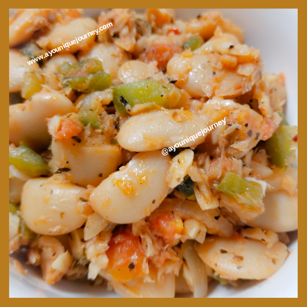 Butter Beans and Saltfish, ready to eat.