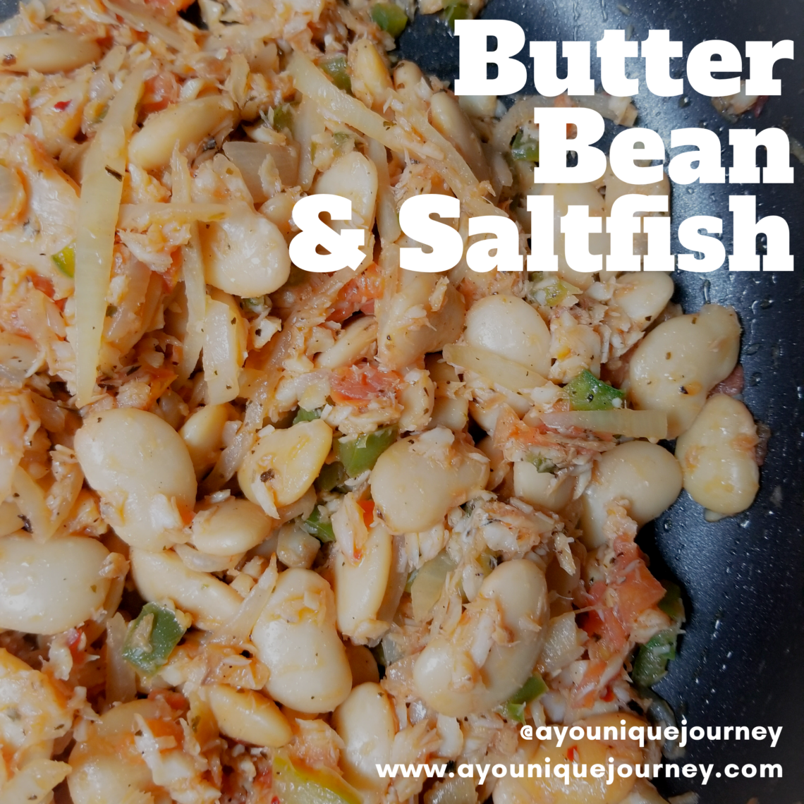 Butter Beans and Saltfish in a skillet.