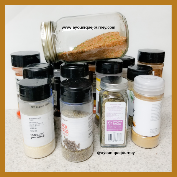 All the different types of herbs and spices used to make the jerk seasoning.