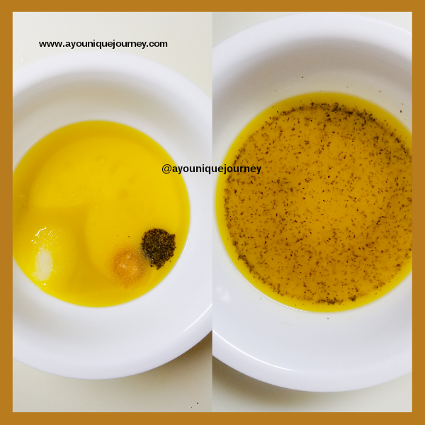 Left Photo: extra virgin olive oil, sugar, garlic, black pepper, salt and lime juice. Right Photo: The finished dressing for the salad.