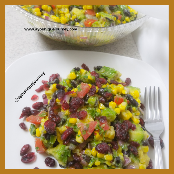 Mexican Street Corn Salad with some dried cranberries on the top.