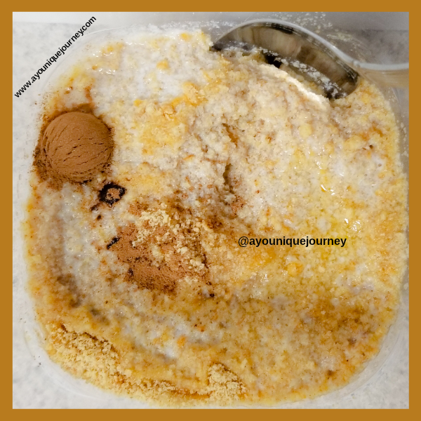 Mixing the ingredients to make the graham cracker crust.