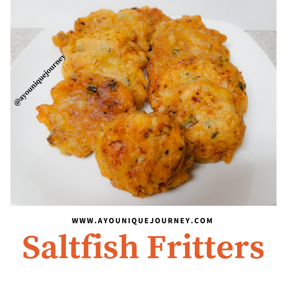 Some flavorful Saltfish Fritters on a plate.