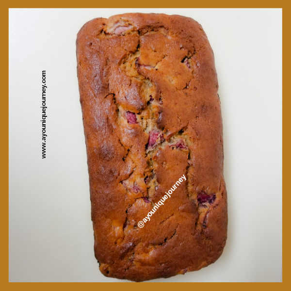 A loaf of Strawberry Banana Bread.