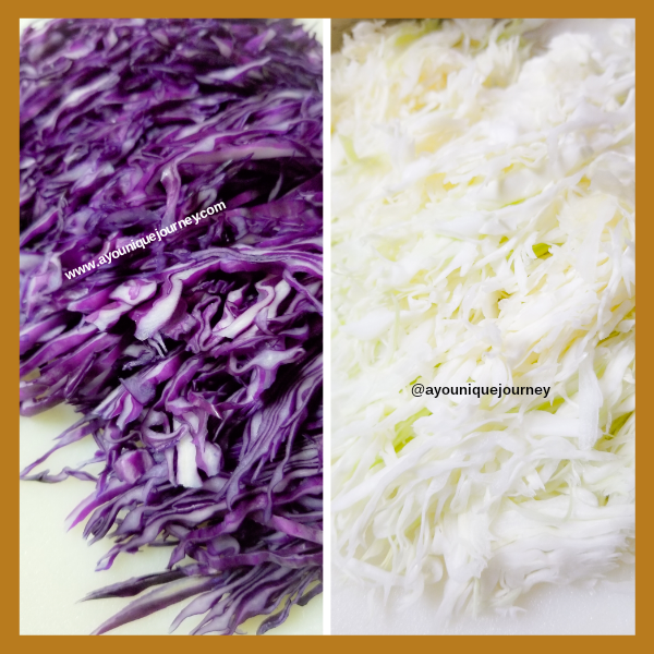Hand shredded purple and green cabbage.