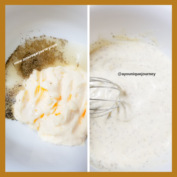 Left Photo: Coleslaw dressing ingredients in a small bowl. Right Photo: whisking the Coleslaw dressing together.