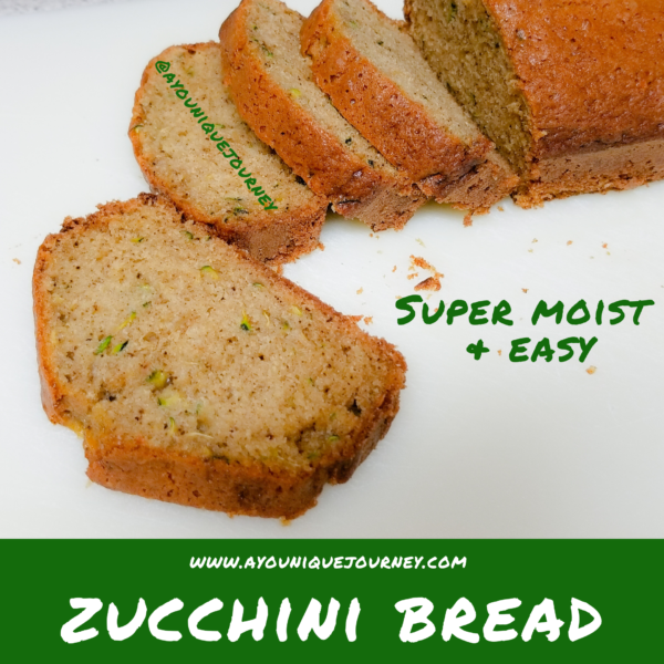 Zucchini Bread slices showing the grated zucchinis after baking.