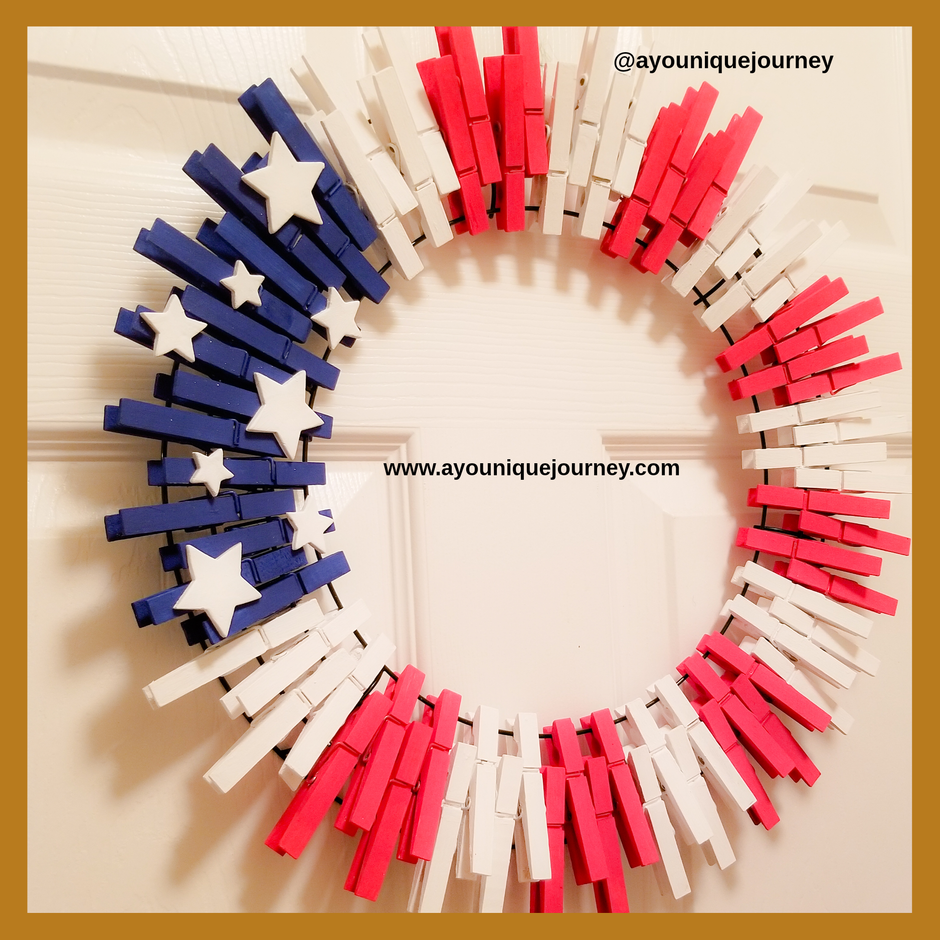 4th of July Wreath made with clothes pins.