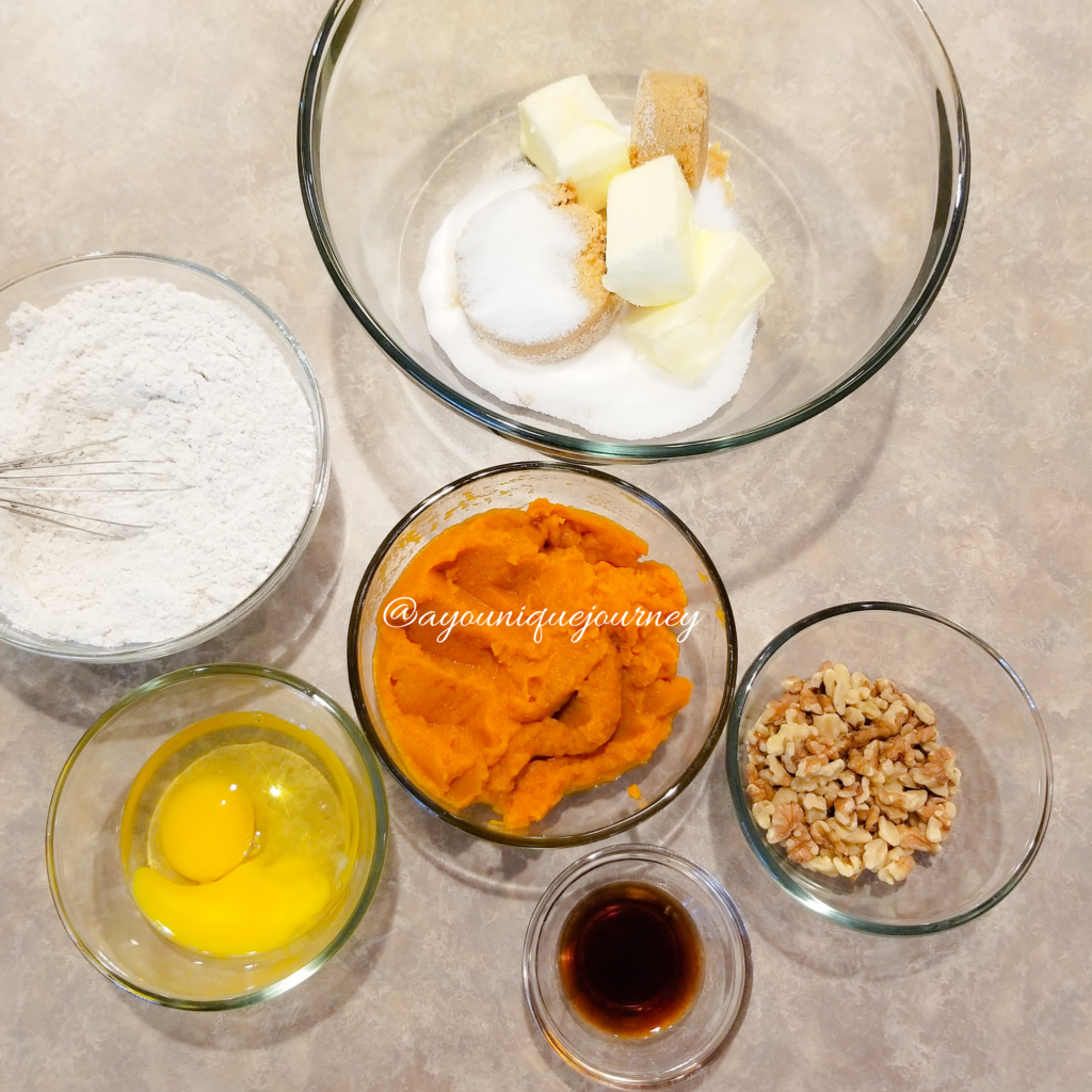 All the ingredients to make the Pumpkin Bread.
