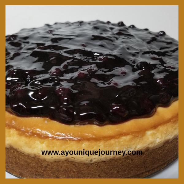A delicious Blueberry Cheesecake.