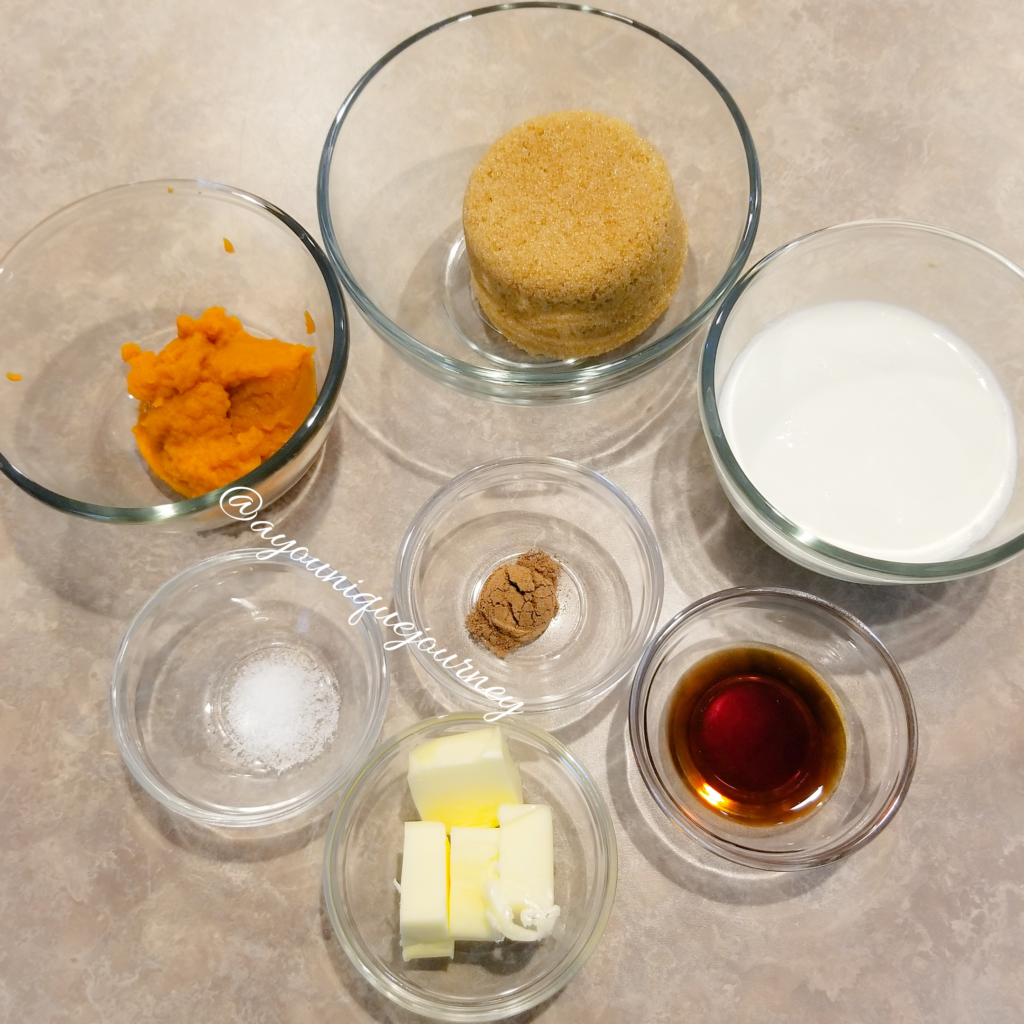 All the ingredients to make the Pumpkin Caramel Sauce.