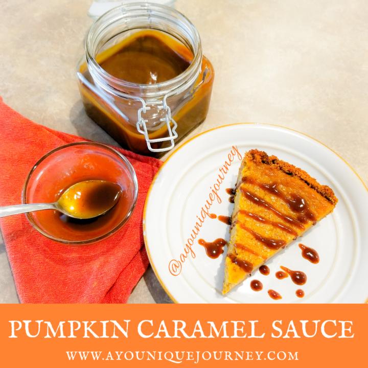 Pumpkin Caramel Sauce on a slice of Sweet Potato Pie in a white plate.