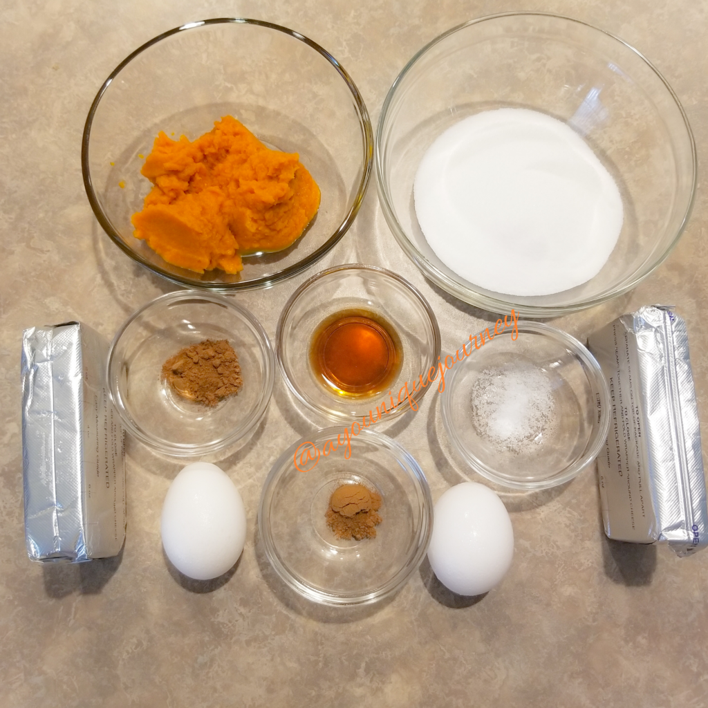 Ingredients to make the cheesecake filling.