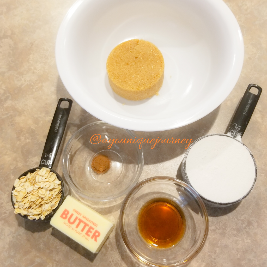 Ingredients to make the streusel.