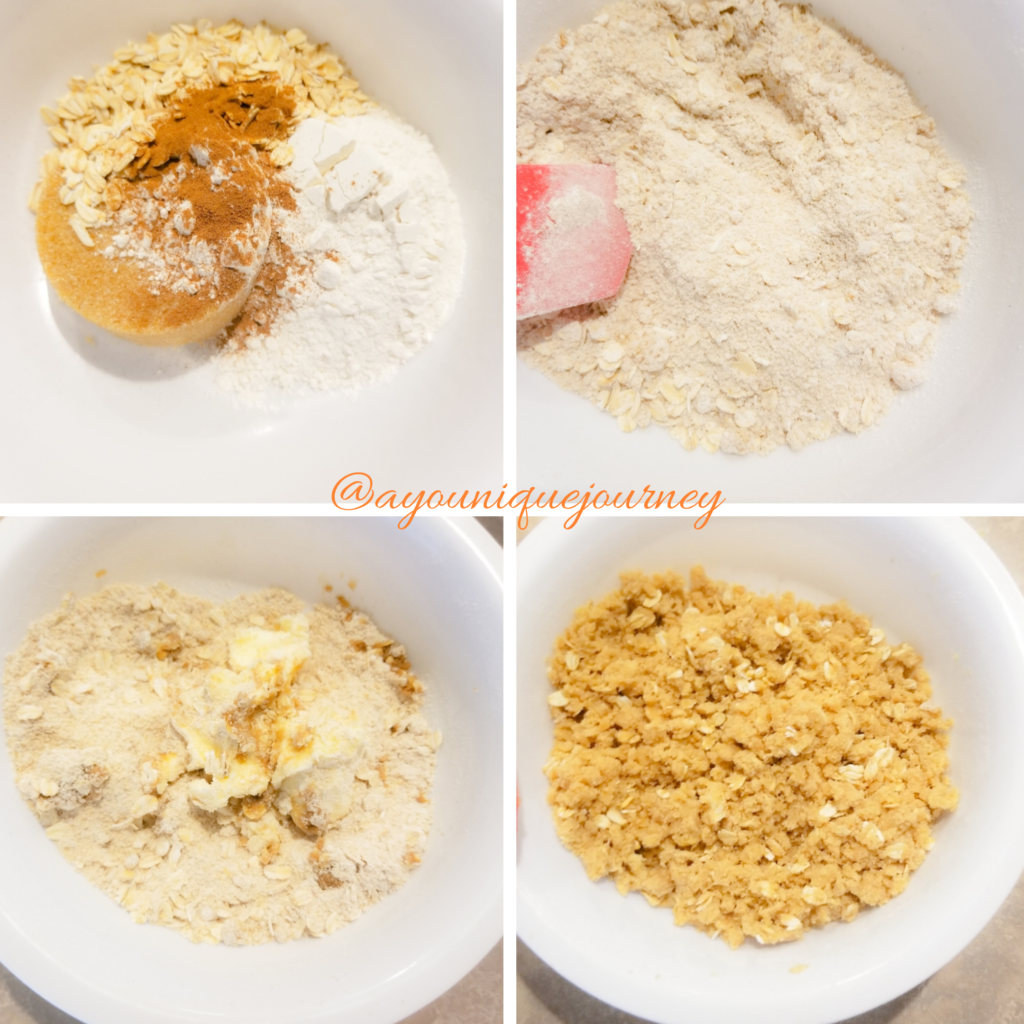The process of making the streusel for the top of the Pumpkin Streusel Cheesecake Bars.