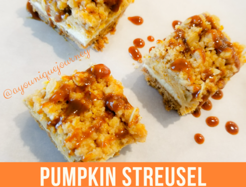 Pumpkin Streusel Cheesecake Bars with Pumpkin Caramel Sauce drizzled on top.