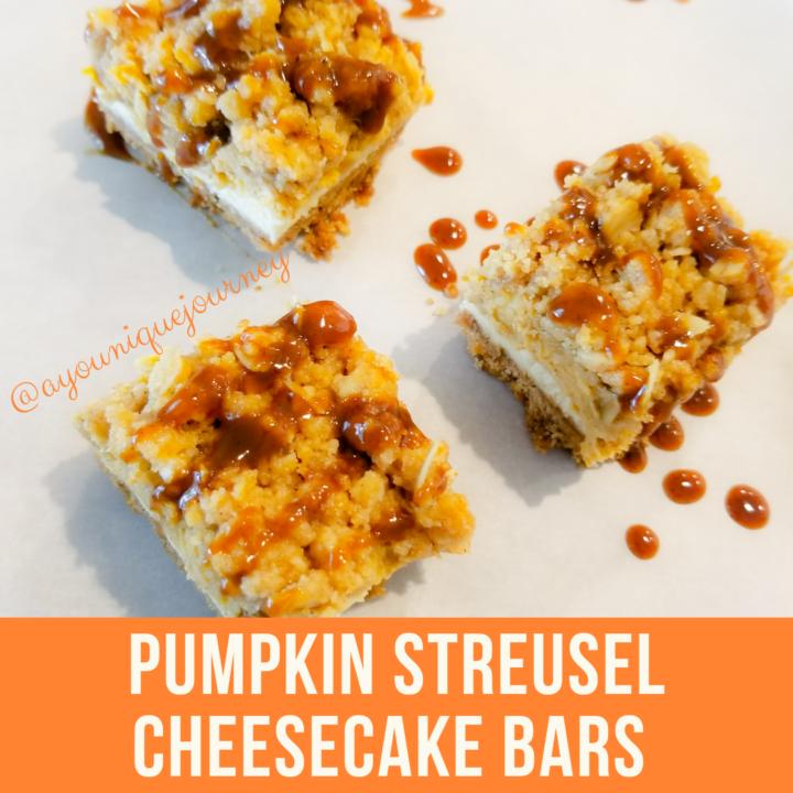 Pumpkin Streusel Cheesecake Bars with Pumpkin Caramel Sauce drizzled on top.