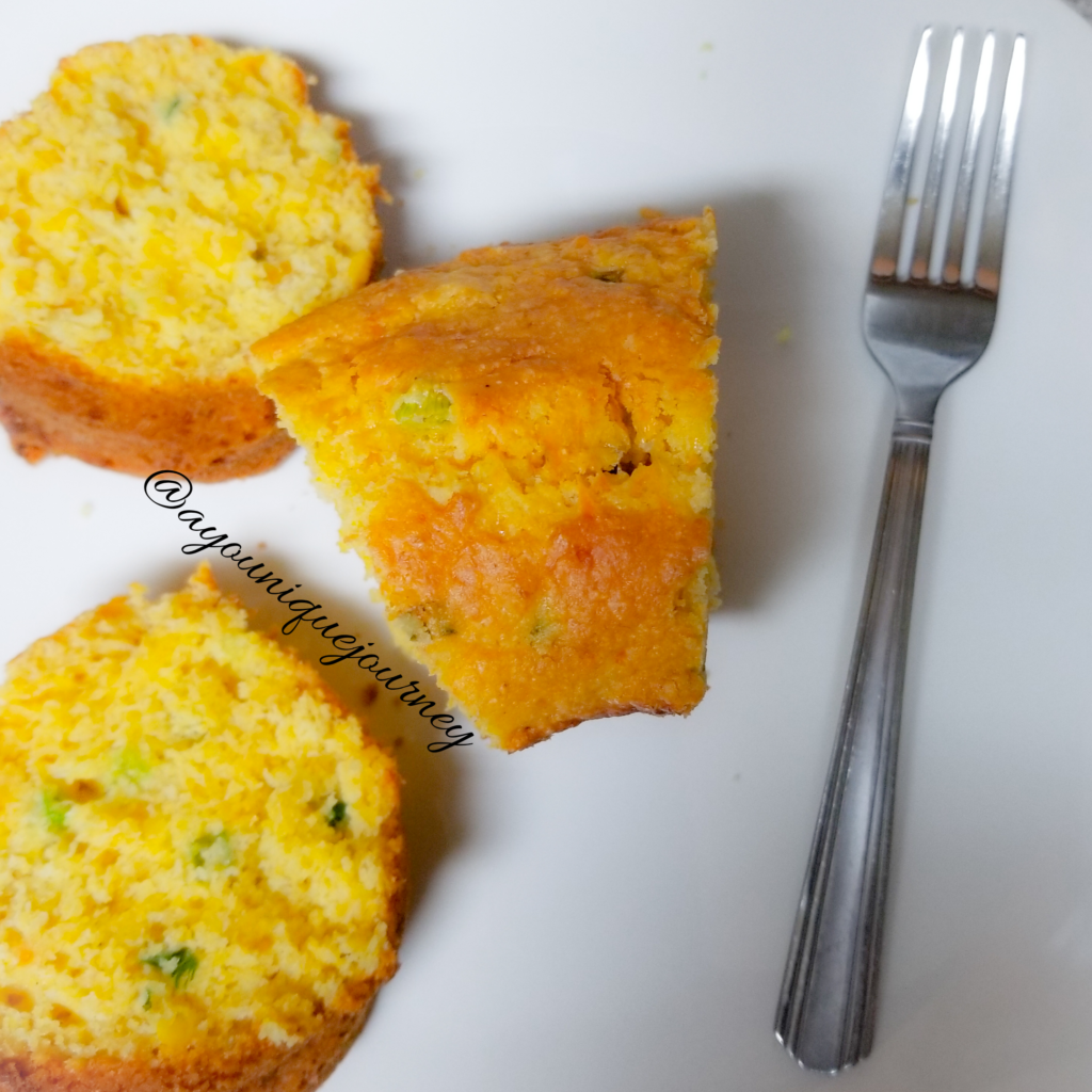 Easy Cheesy Cornbread ready to be eaten.
